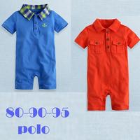 wholesale male child summer short-sleeve turn-down collar plaid romper short-sleeve bodysuit  3pcs/lot Free shipping