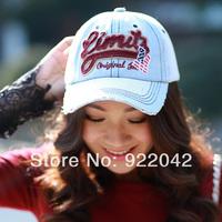 Spring and summer baseball cap five-pointed star letter cap edging finishing retro denim casual cap