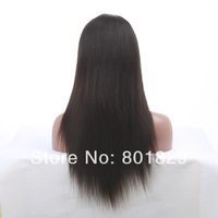 Indian remy human hair natual color light yaki straight silk base top full lace wig with baby hair