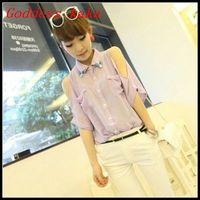 Fashion women 2014 spring new tops ladies chiffon blouse with diamante free shipping B016