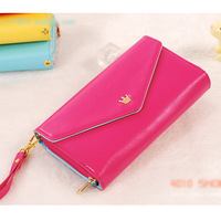 Women Card Wallet Crown Smart Purse For Samsung Galaxy N7100 Note 2 S3/S4 Apple 4 4s 5 Smart Phone Case