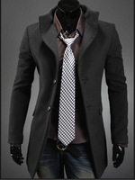 2014 New han edition Trench teamed woolen cloth single breasted trench coat more fashionable man overcoat