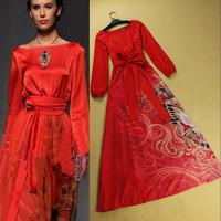 Women Fashion Spring Summer Runway Expansion Bottom Elegant Full Brand Maxi Red Dresses With Belt & XXL
