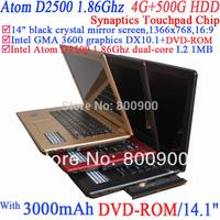 2014 Promotion 14 Inch Laptop Computer Crystal Mirror Screen 1366x768 16:9 Intel Atom D2500 1.86g 802.11b/g Wifi 2g Ram 500g Hdd