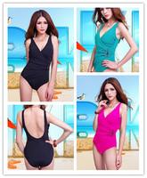 New 2014 Plus Size Swimwear Women Sexy Pad Push Up One Piece Swimsuit Vintage Bandage Bathing Suit Brand Rhinestone Beachwear