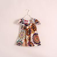 wholesale printed chiffon dress girls spinning children's clothing 6pcs/lot 16e032705
