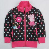 2014 New  Black Spots Girls Peppa Pig Printed Children Clothing Cotton Fleeces Zipper Jackets Coat