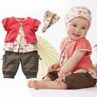 New 2015 baby girl clothing set 3 pcs baby clothing bebe girls clothing sets T-shirt pants scarf roupa de bebe free shipping