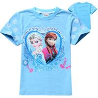 2014 fashion Frozen children girls t shirt retails cotton kids girl tees t shirt clothing baby fashion clothing free shipping