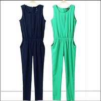 Europe New Brand Fashion Sleeveless OL 5 Colors and  Plus Size Women Jumpsuits TSP1008