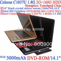 2014 14.1-inch Notebook with Dvd-rom Crystal Mirror Screen 1366x768 16:9 Celeron C1037u 1.8ghz Ivy Bridge 22nm 2g Ram 160g Hdd
