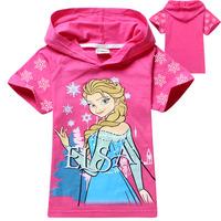 lots Cartoon Frozen children baby girl's tops tees t shirt summer baby girl short sleeve hoodies baby fashion hooded wholedsale