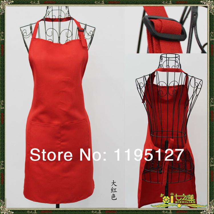 6 X New Wholesale Red Fashionable Polyester Home Kitchen Bar Adjust Paiting Baking Apron 2 Pockets Bib Women Adjust Waitress(China (Mainland))