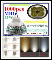 FedEX Free shipping 1000 pcs Dimmable CREE MR16 12W 9W AC&DC12V high power Led spotlight Downlight bulb lamp LED light lighting