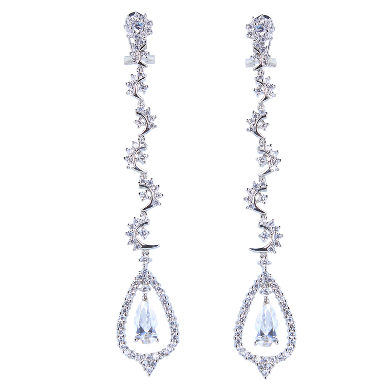New Arrival Women Luxury Vintage Heart Shape Long Earrings Top Grade Zirconia Crystal Prong Setting Marriage