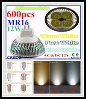 FedEX Free shipping 600 pcs Dimmable CREE MR16 12W 9W AC&DC12V high power Led spotlight Downlight bulb lamp LED light lighting