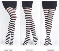 Free Shipping  Wholesale Promotion Women Street Fashion Black & White Stripes Pantyhose Milk Silk 70D Zebra Pantyhose Tights