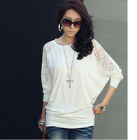 Korean version of the new women's wild fashion lace stitching bat sleeve knit long sleeve T-shirt S-XXL