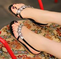 Brand New Bohemia Beaded Rhinestone Sandals Fashion Women Summer Flats Casual Shoes / EUR Size 34-39
