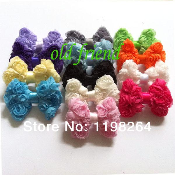 Mini chiffon rosette bows rose bows baby hair bows hair accessory 100pcs/lot mix 17 color free shipping(China (Mainland))