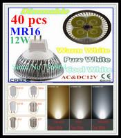 FedEX Free shipping 40 pcs Dimmable CREE MR16 12W 9W AC&DC12V high power Led spotlight Downlight bulb lamp LED light lighting