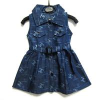 2014 summer new fashion kids children clothing girl denim dress casual letter sashes brand vest girl jeans dress k9291