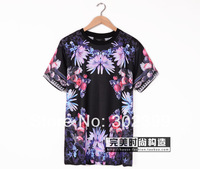 2014 spring and summer lotus rose giv fresh flower lovers men and women T-shirt short-sleeve tee