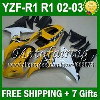 7gifts Custom For YAMAYA YZF R1 02-03 02 03 YZF 1000 YZF-R1 Yellow white black YZFR1 2002 2003 JM100912 YZF1000 YZF-1000 ABS Fai