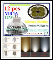 Free shipping 12 pcs / lot Dimmable CREE MR16 12W 9W AC&DC12V high power Led spotlight Downlight bulb lamp LED light lighting