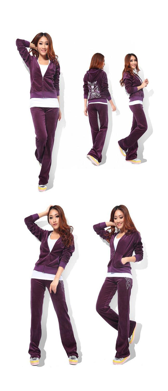 Free shipping fashion Women's Clothing brand velvet Tracksuits Suits sportswear Sweat shirt+jogger pants women sportswear(China (Mainland))