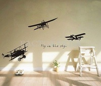 Free Shipping Removable Plane Fly In the Sky Black Sticker Vinyl Decal Home Decor 58x50cm 4007-373