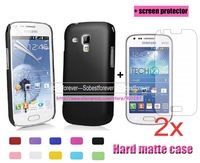 new Matte hard Plastic case cover+2X screen protector lcd film guard For Samsung Galaxy S Duos 2 S7582/Trend Plus S7580