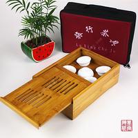 6pcs tea cup+2pcs Gaiwan tea Sets ceramic travel kung fu tea set outdoor portable brief bag bamboo tea tray china drinkware