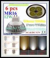 Free shipping 6 pcs / lot Dimmable CREE MR16 12W 9W AC&DC12V high power Led spotlight Downlight bulb lamp LED light lighting