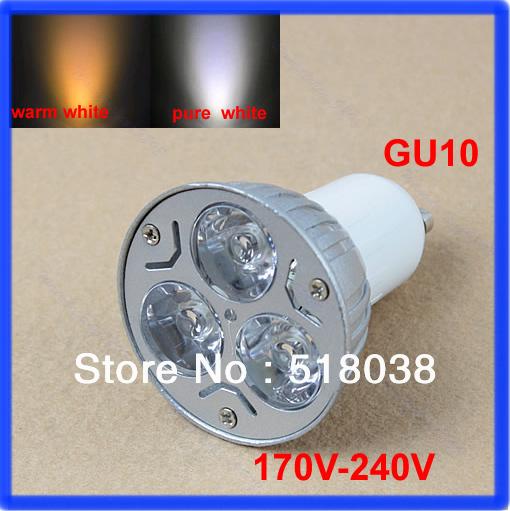 E93Free Shipping 5Pcs/lot 3W 3*1W GU10 High Power LED Lamp,White LED Bulb Light Spotlight(China (Mainland))
