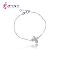 Embalmed 925 pure silver bracelet Women pure silver diamond bracelet four leaf clover bracelet accessories