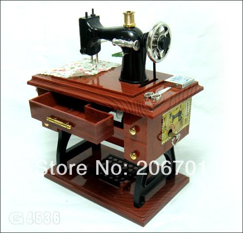 2014 Charming Fashion Sewing Machine Style Model Mechanical Music Box Collectible(China (Mainland))