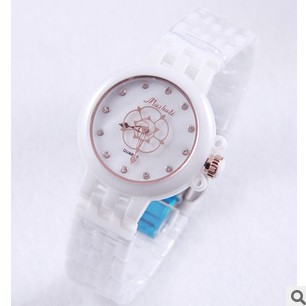 The ceramic white female table Fashionable ladies watch ceramic table, women's watch, quartz watch, free shipping(China (Mainland))