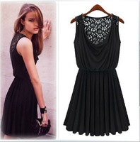 New European and American retro sultry ladies sexy lace dress piles collar elastic waist