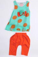 CS063 free shipping baby girl summer clothing set chiffon polka dot top + cotton orange pants cute toddler girl fashion clothes