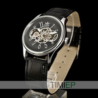 SEWOR Black Dial Men's Skeleton Hand Wind Up Mechanical WristWatch Man