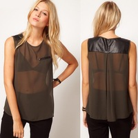 PU leather patchwork chiffon sleeveless women blouse sheer shirts camisa blusa tops chothes summer vest