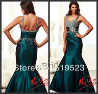 Gorgeous Mermaid Floor-Length Sweetheart Cap Sleeve Crystal Beaded Teal Green Taffeta 2014 New Arrival Prom Dresses Gown
