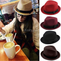 New  Fashion Style Men Ladies Wool Felt Panama Trilby Fedora Jazz Dance Bowler Hat Cap 5 Color (fx226)