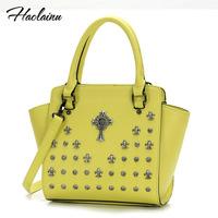 Brand design 2014 women vintage Crow heart cross shoulder bag lady PU leather handbag High quality freeshipping