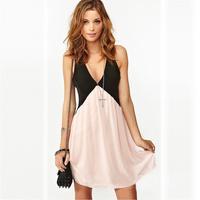 Trendy Girl Sexy Deep V-neck Stitching Back Hollow Chiffon Vest Dress Sleeveless Free Shipping 5848