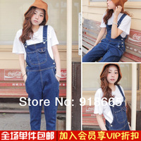 Offer Overalls High Cotton Button Skinny Bib Pants Female 2014 Spring And Summer Plus Size Suspenders Trousers Jumpsuit 385