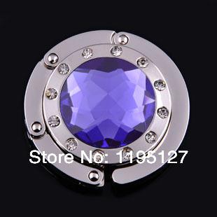 New Design 10Pcs/Lot Purple Handbag Hook Folding Purse Hanger Holder Fashion Originality Crystal Gemstone Free Shipping(China (Mainland))