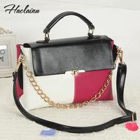 Brand design 2014 women contrast color patchwork shoulder bag lady PU leather messenger bag casual handbag freeshipping
