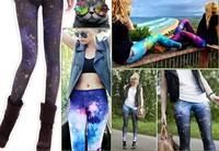 1 piece/lot women sexy hot colors Harajuku Star Galaxy space print leggings pants,women printing legging